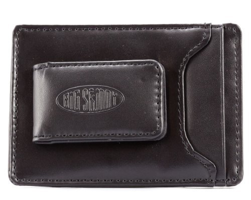 (Big Skinny Men's Leather Magnetic Money Clip Black)