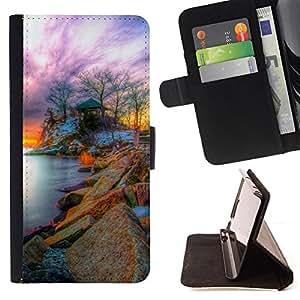 BullDog Case - FOR/LG G2 D800 / - / Nature Fantasy Sunset /- Monedero de cuero de la PU Llevar cubierta de la caja con el ID Credit Card Slots Flip funda de cuer