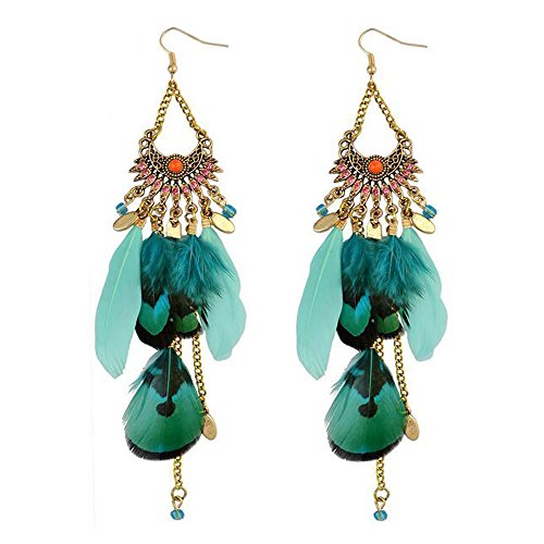 Luck Wang Women's Unique Fashion Long Feathers And Tassels Bohemian Ethnic Style Earrings(Bule)