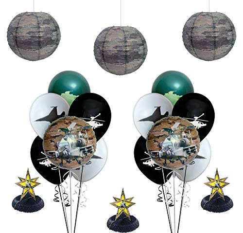 Party City US Military Camo Decorating Supplies, Include Honeycombs, Paper Lanterns, Foil Balloons, and Latex Balloons -