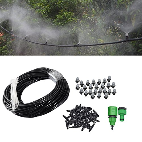 50FT Mist Cooling System with 20PCS Plastic Mist Nozzles For Outdoor Lawn Patio Garden Greenhouse by Forfuture-go