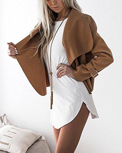 Casual Cammello Lunga Jacket Donna Blazer Breve Giacca Manica Cardigan Outwear Cappotto Tops Corto qwwa1I7xt