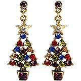 Sweet Romance Jewel Tree O Christmas Crystal Earrings