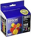 Epson Cartridge Ink, 288XL Black 288 Cyan, Magenta, Yellow Jaune, 4-Pack