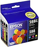 Office Products : Epson Cartridge Ink, 288XL Black 288 Cyan, Magenta, Yellow Jaune, 4-Pack