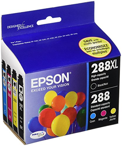 Epson T288XLBCS Black High Capacity and Color Standard Capacity Ink Cartridges C/M/Y/K 4Pack