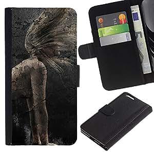 """A-type (Chica rústico vintage"""") Colorida Impresión Funda Cuero Monedero Caja Bolsa Cubierta Caja Piel Card Slots Para Apple (5.5 inches!!!) iPhone 6+ Plus / 6S+ Plus"""