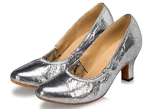 Tda Femmes Slip-on Confort Synthétique Bungee Élastique Salsa Tango Salle De Bal Latine Chaussures De Danse Moderne Argent