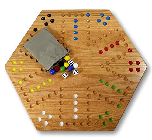 AmishToyBox.com Oak-Wood Hand-Painted Double-Sided Wooden Aggravation Game Board, 20