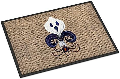 Caroline s Treasures 8749JMAT Halloween Ghost Spider Bat Fleur de lis Indoor or Outdoor Mat 24×36 Doormat, 24H X 36W, Multicolor