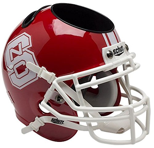 (North Carolina State Wolfpack Miniature Football Helmet Desk Caddy - Red - NCAA Licensed - NC State Wolfpack Collectibles)
