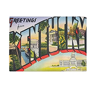 Greeting from Kentucky Old Travel Poster Kitchen Bar Glass Cutting Board