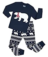 Boys Snow Bear Pajamas Girls 2 Piece Christmas Cotton Clothes Sleepwear Set