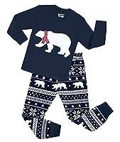 Boys Snow Bear Pajamas Girls 2 Piece Christmas Cotton Clothes Sleepwear Set
