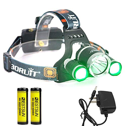 BESTSUN Headlamp with Green Light, Green Coyote Hog Hunting Light, Super Bright Night Hunting Headlamp with Green & White Light, Rechargeable Green Light for Varmint Predator Hunting, Camping, Cycling