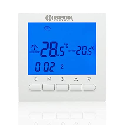 Beok BOT-313W BL Wired Programmable LCD Room Thermostat Gas Boiler Control  Smart Temperature Controller, AA Battery Powered, Blue Backlight