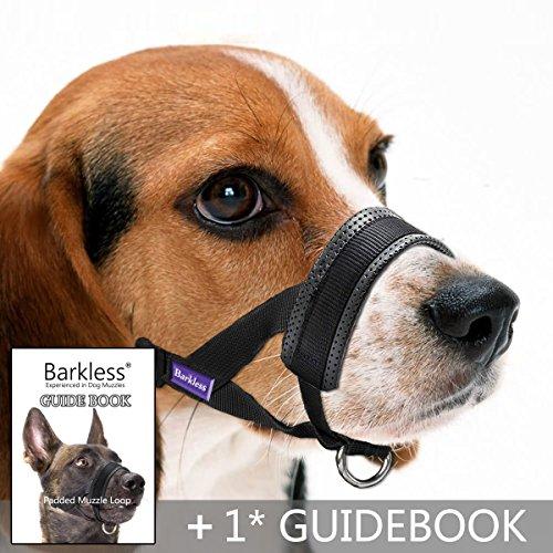 Dog Muzzle, Adjustable Loop with Extra Soft Padding, Nylon Black (L)