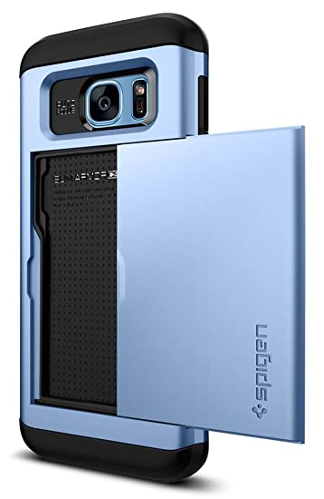 promo code 6cfcb c04a8 Spigen Slim Armor CS Galaxy S7 Edge Case with Slim Dual Layer Wallet Design  and Card Slot Holder for Galaxy S7 Edge - Blue Coral