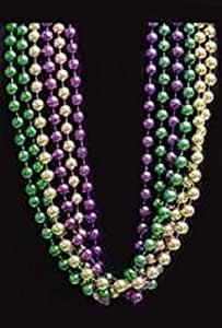 "Mardi Gras, Purple, Green, and Gold Metallic Beads, 7 mm, 42"", 36 Dozen (432pcs)."