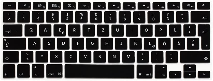 HRH German QWERTZ Silicone Keyboard Cover Skin for MacBook Air 13,MacBook Pro 13/15/17 (with or w/Out Retina Display, 2015 or Older Version)&Older iMac EU Layout Keyboard Protector-Black