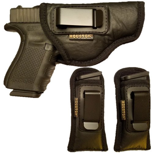Combo ECO Leather Concealment Gun Holster + 2 Magazine Holster IWB with Metal Clip Fits Glock 19/23 / 32,Walters PK 380 / PPS/CCP, Ruger SR9 C,S&W M&P c,H&K c (Right) (CHP-57G+2CHMP5-RH)