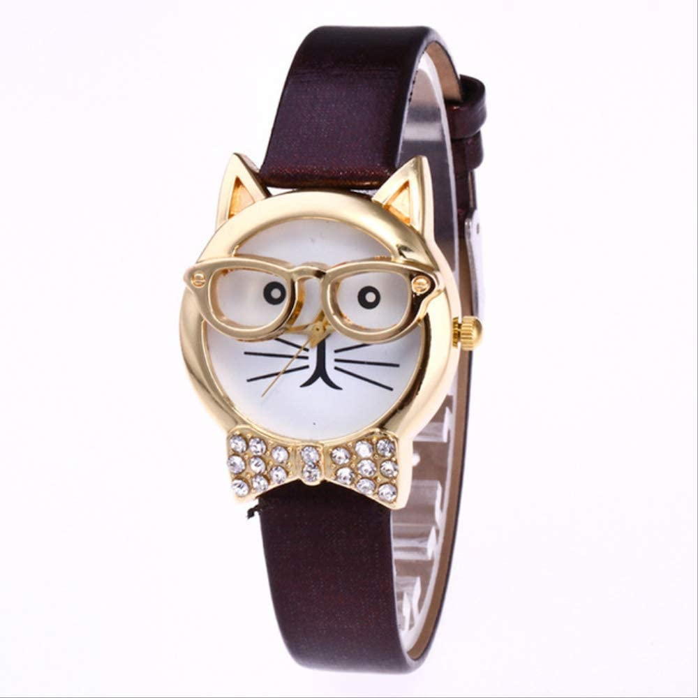 Cute Glasses Cat Women Watches Casual Analog Quartz Dial Leather Band Reloj De Pulsera Relojes De Mujer Relogio
