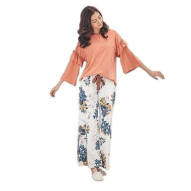 Uomun Moda para Mujer Estampado Traje Rayas Vintage Pijama Algodón ...