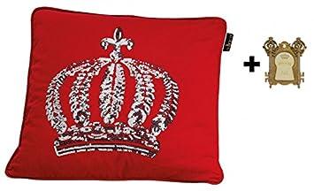Harald Glckler Designer Zierkissen 50 X Cm Krone Mit Pailletten Rot Silber Casa
