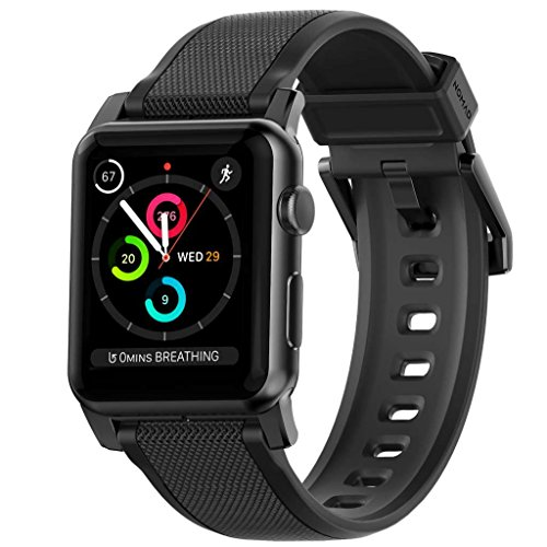 Nomad for Apple Watch 42 MM Vulcanized LSR Silicone Strap Band with Stainless Steel Lugs - Black