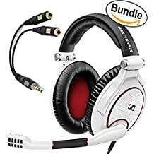 Sennheiser GAME ZERO PC Gaming Headphone 506064 (White) & Sennheiser PCV 05 Combo Audio Adapter - Bundle