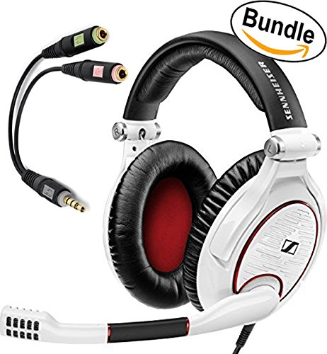 Sennheiser GAME ZERO PC Gaming Headphone 506064 (White) & Sennheiser PCV 05 Combo Audio Adapter - Bundle