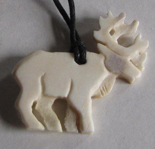 (Alaskan Made Moose Antler Carved Caribou Pendant)
