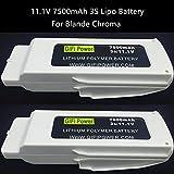 Fdrone 2PCS Upgrade 11.1V 7500mAh Lipo Battery Compatible with Blande Chroma RC Drone Spare Part White