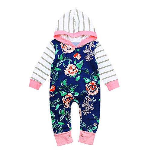 Floral Long Sleeve Onesie (BAOBAOLAI Infant Baby Girl Long Sleeve Roses Floral Striped Onesie Rompers Bodysuit Outfits Set)