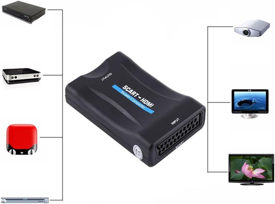 Pangdingk 2021 Neu 720p 1080p Scart Zu Hdmi Audio Video Konverter Converter Scaler Adapter Mit Usb Kabel Küche Haushalt