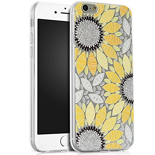 PHEZEN iPhone 4S Case,iPhone 4 Clear Case, Beautiful Flower Pattern Clear Bumper Case Soft TPU Rubber Silicone Skin Transparent Case Cover for iPhone 4/4S (Yellow Sunflower) (Yellow Silicon Skin Case)