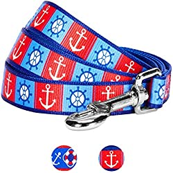 Blueberry Pet 2 Patterns Classy Bon Voyage Nautical Ocean Harbor Designer Dog Leash, 5 ft x 3/4, Medium, Durable Leashes for Dogs