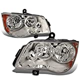 DNA Motoring HL-OH-012-CH-AM Chrome Amber Headlights Replacement For 11-17 Grand Caravan