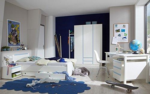 Komplett Jugendzimmer weiß blau Kleiderschrank Schreibtisch Jugendbett Garderobe