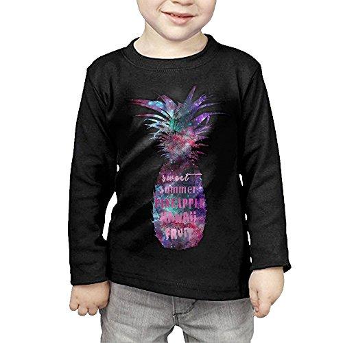 Retro Pineapple Summer Fruit Kids Children Unisex Long Sleeve Cotton Crew Neck T-Shirt - Kid Sunglasses Baby 80s