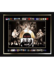 Frameworth Rush Framed Album Collection Collage with Gold 45 Record, Black, One Size