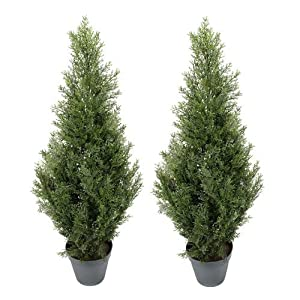 TWO Pre-potted 3' Artificial Cedar Topiary Outdoor Indoor Tree 6