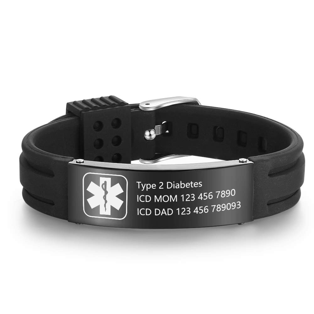 Lam Hub Fong Free Engraving 9 Inches Silicone Adjustable Medical Bracelets Sport Emergency ID Bracelets for Men Women Kids Waterproof Stainless Steel Rubber Alert Bracelets BA102176