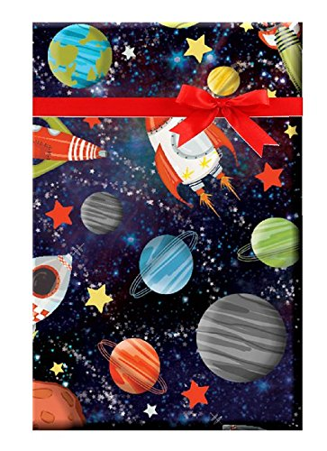 Space Gravity Planets Moon Earth Space Rocket Galaxy Gift Wrap Wrapping Paper - 15ft - Space Wrap