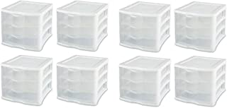 product image for Sterilite Medium Clearview Compact Portable 3 Storage Drawer Organizer Cabinet (8 Pack)