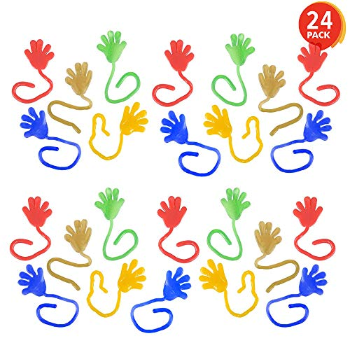 ArtCreativity Sticky Glitter Hands (Pack of 24) | Stretchy Wacky Fingers | Fun Colorful Toys for Kids | Birthday Party Favors for Girls and Boys/Great Carnival Prize/Novelty Gift ()
