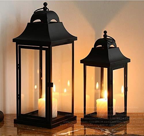 DILY ロマンチックな結婚提案カップル、パビリオン錬鉄製のローソク足、ヨーロッパの錬鉄製のガラス、、古典的な庭の家の装飾の装飾品、お祭り、パーティー、結婚式やアロマセラピーのための理想的な贈り物 (Color : Black, Size : S(only))   B07QVKBS71