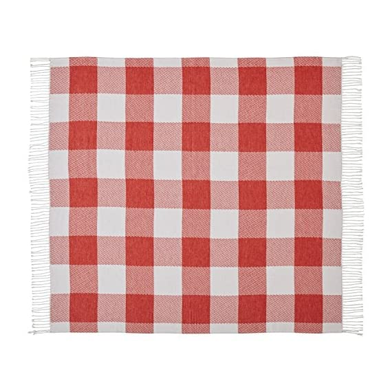 """Amazon Brand – Stone & Beam 100% Cotton Buffalo Check Throw Blanket, 50"""" x 60"""", Ivory and Red - A timeless buffalo check print makes this cozy cotton blanket blend with a variety of styles. With tassels at each end, it looks great draped over a bed or sofa -- or around you as you snuggle in to watch a Netflix movie. 50""""x 60"""" 100% Cotton - blankets-throws, bedroom-sheets-comforters, bedroom - 516O3BvGsCL. SS570  -"""