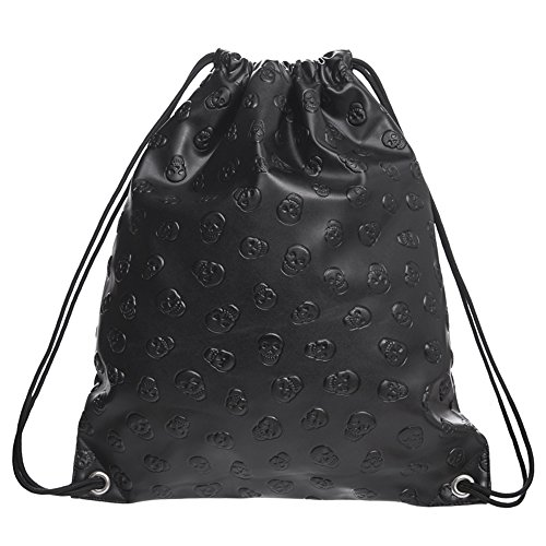 - BOXMO Skull PU leather Drawstring Backpack for Traveling or Shopping Casual Daypacks School Bags (Black)