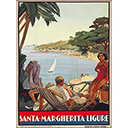 Genoa Santa Margherita Ligure Italy Vintage Italian Travel Advertisement Art Poster Print. Measures 10 x 13.5 inches